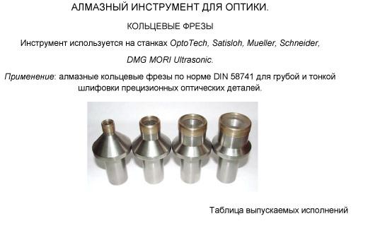 алмазный инструмент для оптики - кольцевые фрезы